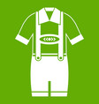 t-shirt and pants with suspenders icon green vector image vector image