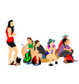 tired tourist girls traveler rest and waiting taxi vector image vector image