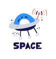 ufo spaceship icon flat style alien space ship vector image vector image