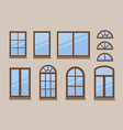windows brown various frames collection vector image vector image