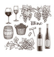 wine set isolated on white background vector image vector image