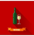 with a wineglass and a bottle of wine in flat vector image