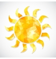 yellow sun label triangles vector image vector image