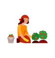 young woman farmer gathering ripe strawberries vector image
