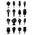 Ice cream black icons set vector image