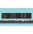 programmer workdesk triple monitor with vector image