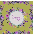 Spring card Watercolor floral frame with text vector image
