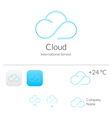 Cloud Stylish Logo and Icons Concept vector image
