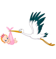 stork and baby girl vector image