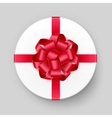 White Round Gift Box with Red Bow and Ribbon vector image