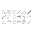 kitchen tools icon set outline style vector image