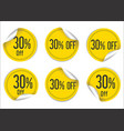 30 percent off yellow paper sale stickers vector image