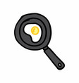 a fry pan with an egg vector image