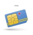 aruba mobile phone sim card with flag