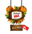 autumn sale wooden signboard vector image vector image