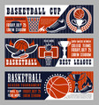 basketball sport game banners with field and ball vector image vector image
