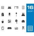 black furniture icons set on white background vector image