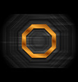 black technology background with bronze octagon vector image vector image