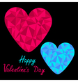 Blue and pink hearts Polygonal Valentines Day vector image vector image