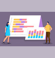 business team presenting infocharts or graphics vector image vector image