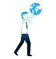 businessman holding globe world success business vector image vector image