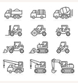 Construction truck icon set vector image