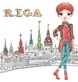 cute redhead girl in riga latvia vector image