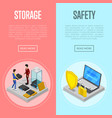 data cloud storage safety isometric posters vector image vector image