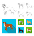 dog breeds outlineflat icons in set collection vector image vector image