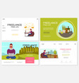 flat freelance websites collection vector image