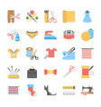 flat icons set of stitching and knitting accessor vector image