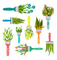 flat set of decorative elements with spring vector image