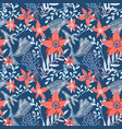 floral seamless pattern with winter foliage vector image