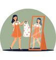 girl trying on dress in clothing store shopping vector image