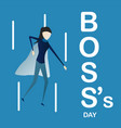 happy bosss day background with super boss woman vector image vector image