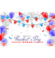 happy president day hanging bunting flags for vector image
