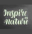 inspire nature chalkboard blackboard lettering vector image vector image
