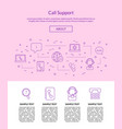 line call support center icons landing page vector image vector image