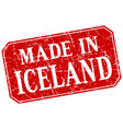 made in iceland red square grunge stamp vector image vector image