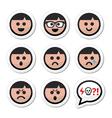 Man boy faces avatar icons set vector image vector image