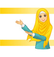 Muslim Woman Wearing Yellow Veil with Welcome Arms vector image vector image