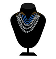 necklaces of pearls and blue stones vector image vector image