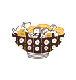 painted ceramic bowl japanese noodle soup vector image vector image