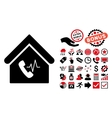 Phone Station Building Flat Icon with Bonus vector image vector image
