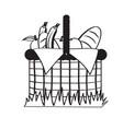 picnic basket sketch vector image vector image