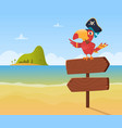 pirate parrot funny colored bird arara sitting on vector image vector image