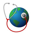 planet earth and a red medical phonendoscope vector image