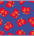 red canna lily on navy blue background vector image vector image