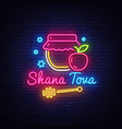 rosh hashanah jewish holiday neon banner design vector image