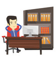 satisfied business man relaxing in office vector image vector image
